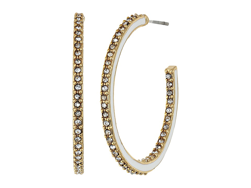 Kate Spade New York - Shine On Enamel Hoops (White Multi) Earring