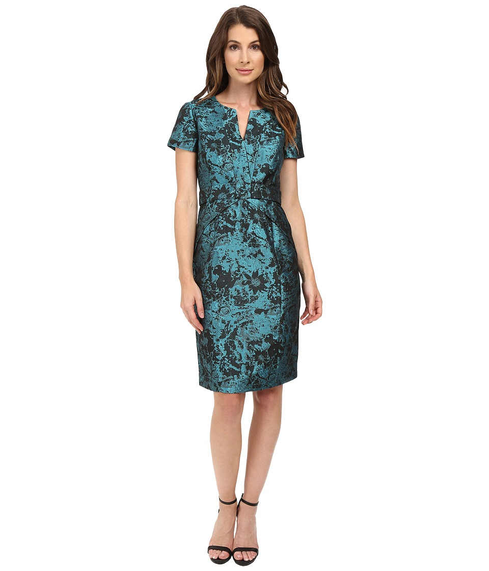 NUE by Shani - Printed Jacqaurd Dress with Waistband Detail (Black/Aqua) Women's Dress