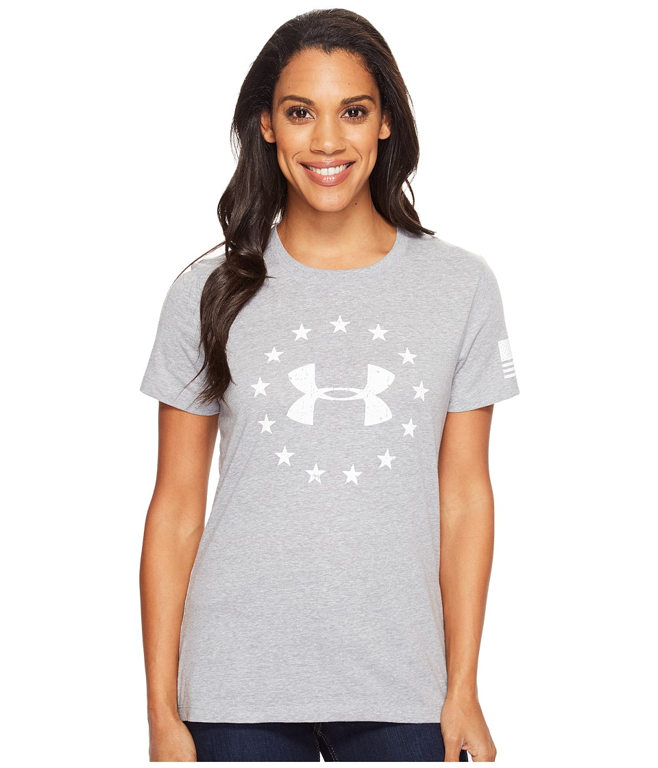 Under Armour Freedom Logo Short Sleeve (True Gray Heather/White) Women
