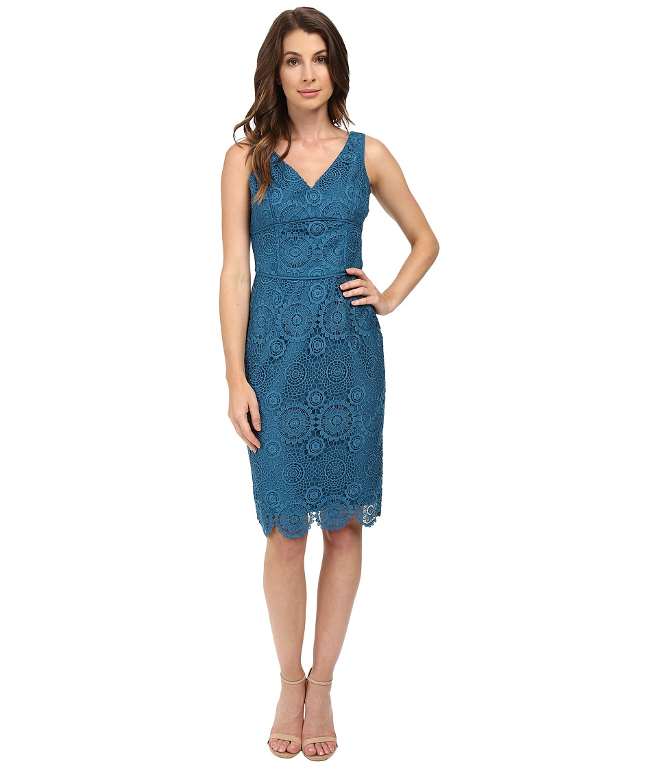 NUE by Shani V-Neck Lace Dress with Built in Shapewear (Azure Blue) Women