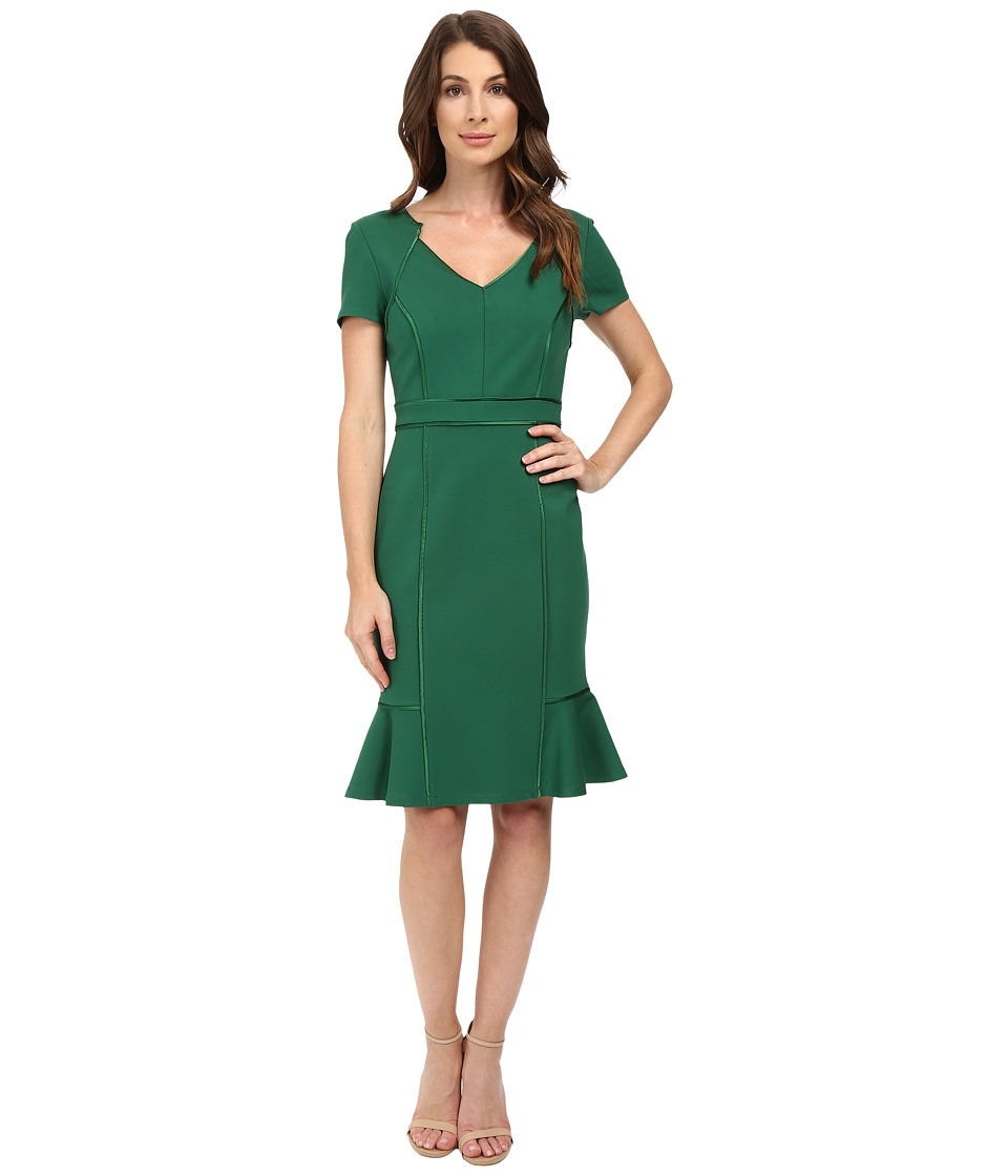 NUE by Shani - V-Neck Ponte Knit Dress with Side Flounce (Forest) Women's Dress