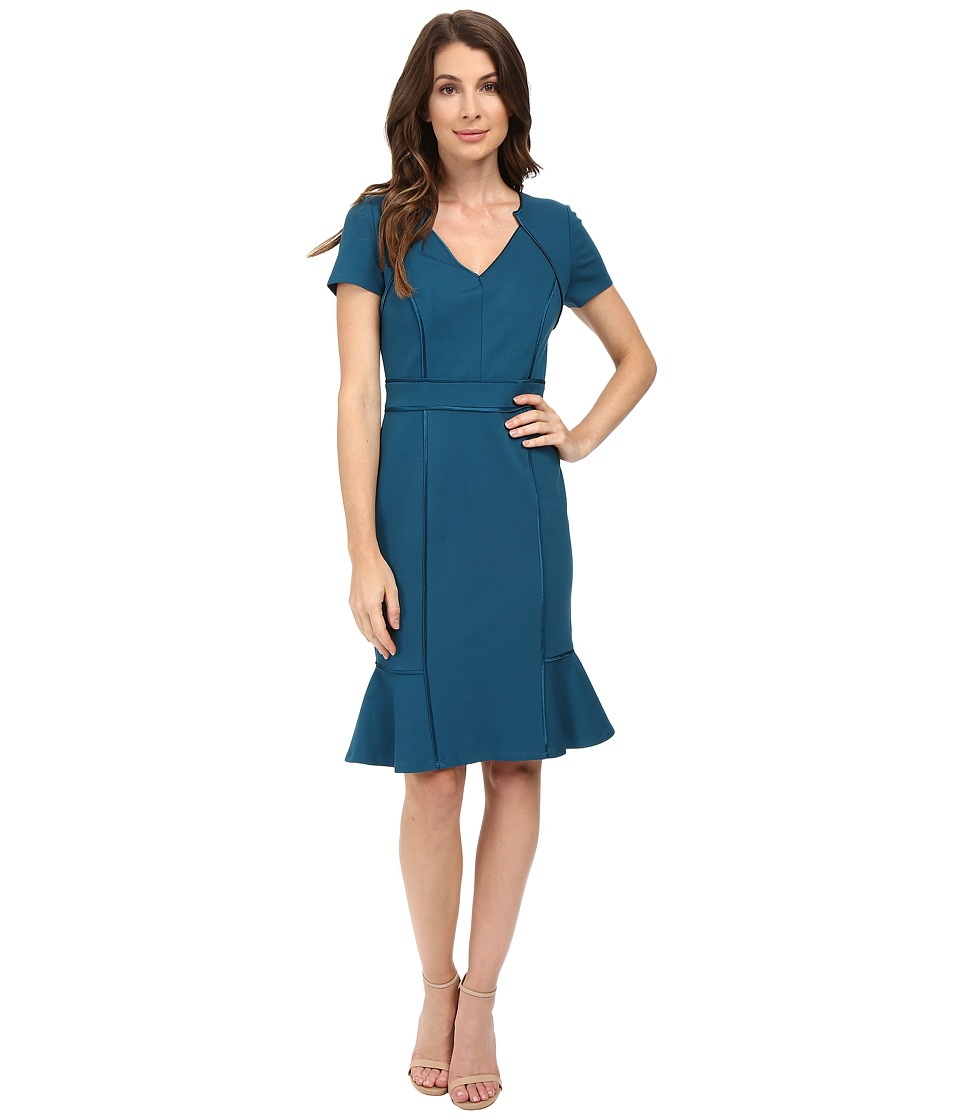 NUE by Shani - V-Neck Ponte Knit Dress with Side Flounce (Azure Blue) Women's Dress
