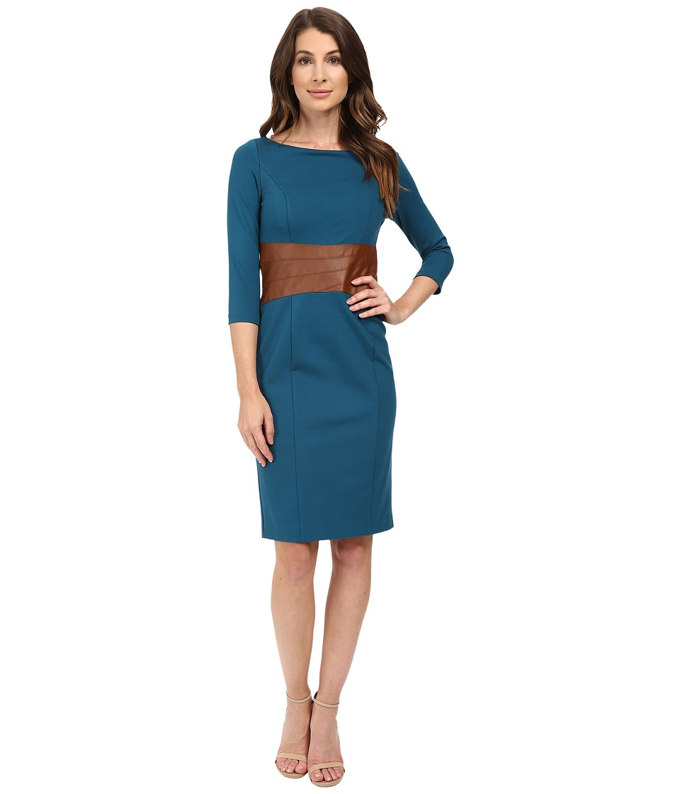 NUE by Shani - Knit Dress with Leather Waistband with Built in Shapewear (Azure Blue/Luggage) Women's Dress