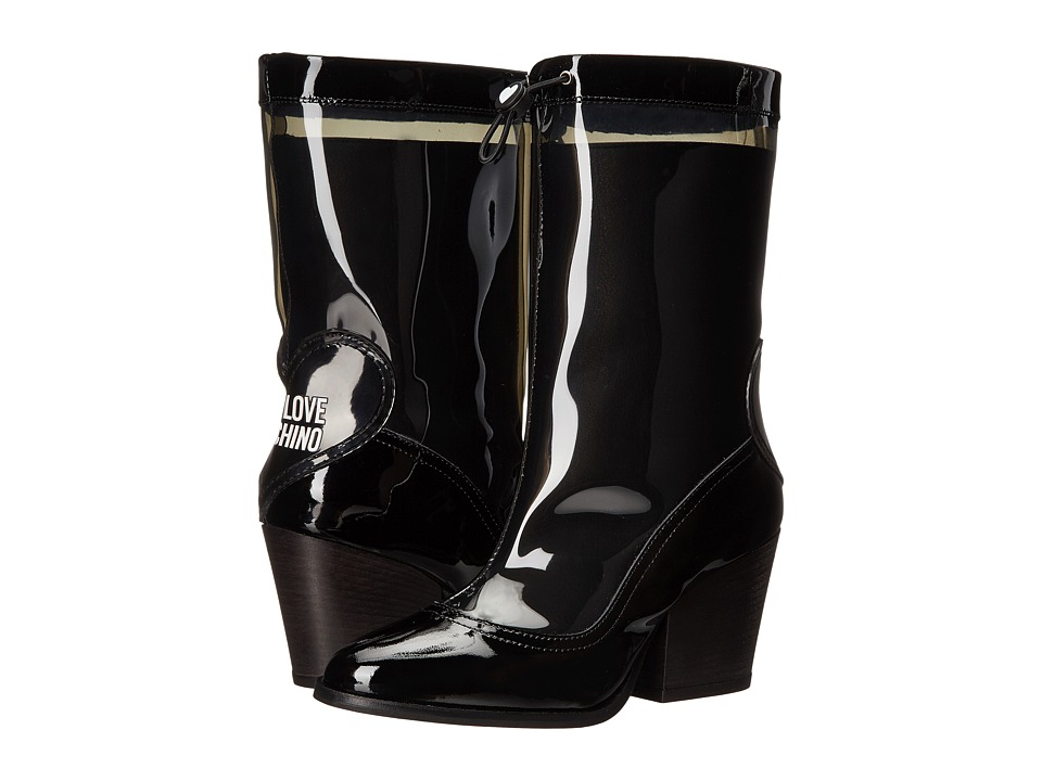 LOVE Moschino - Chunky Heeled Rain Boot (Black) Women's Rain Boots