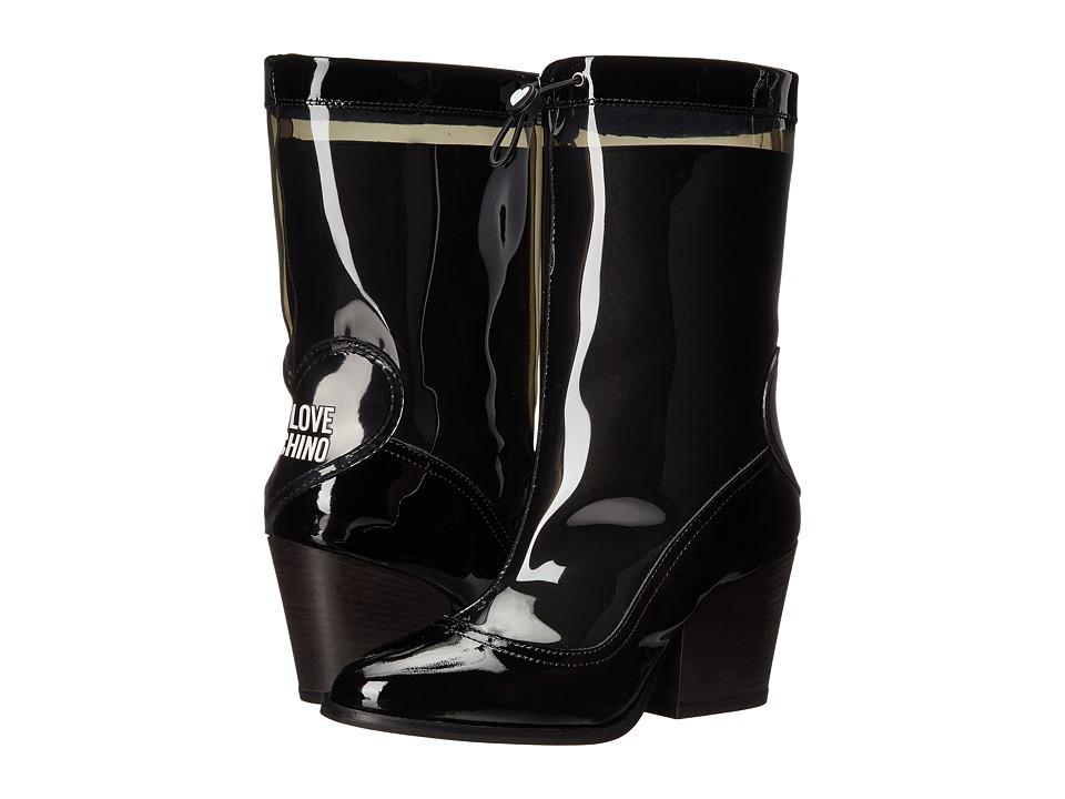 LOVE Moschino - Chunky Heeled Rain Boot (Black) Women's Rain Boots