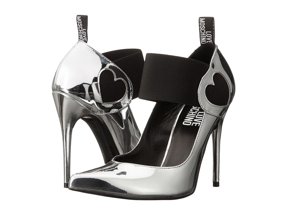 LOVE Moschino - Pointed Pump Heel w/ Strap (Silver) High Heels