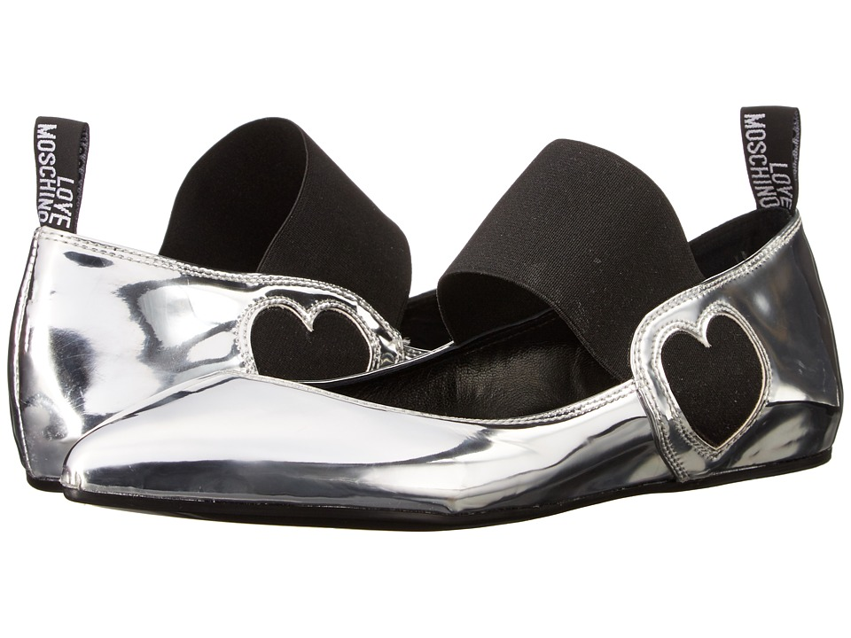 LOVE Moschino - Ballerina Shoe w/ Strap (Silver) Women's Flat Shoes