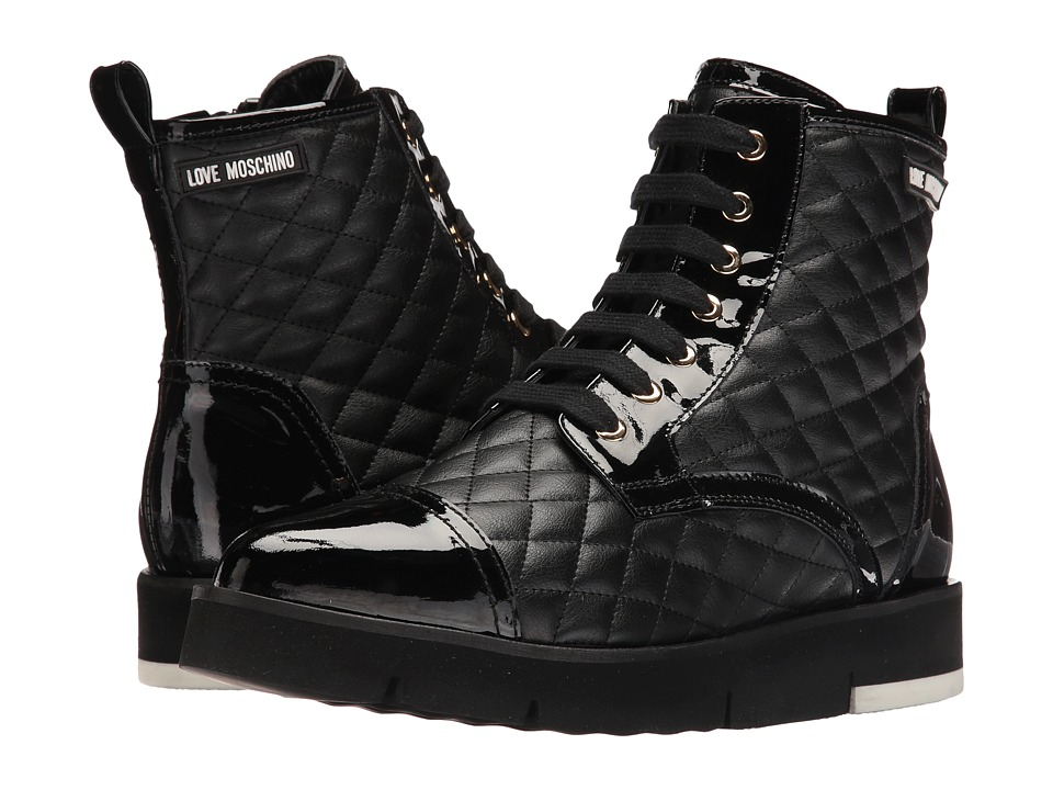 LOVE Moschino - Quilted Combat Sneaker (Black) Women's Boots