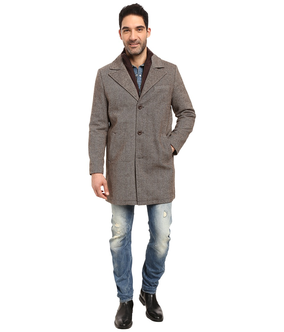Kenneth Cole New York - Wool Twill Car Coat (Brown) Men's Coat
