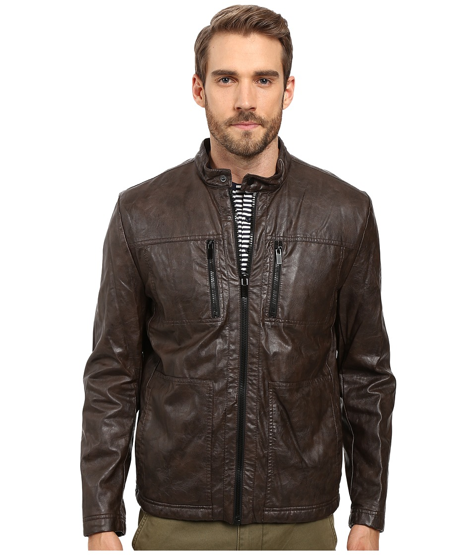 Kenneth Cole New York - Marble PU Leather Jacket (Wood Brown) Men's Coat