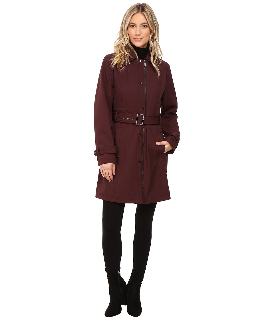 Kenneth Cole New York - Softshell Belted Trench (Burgundy) Women's Coat
