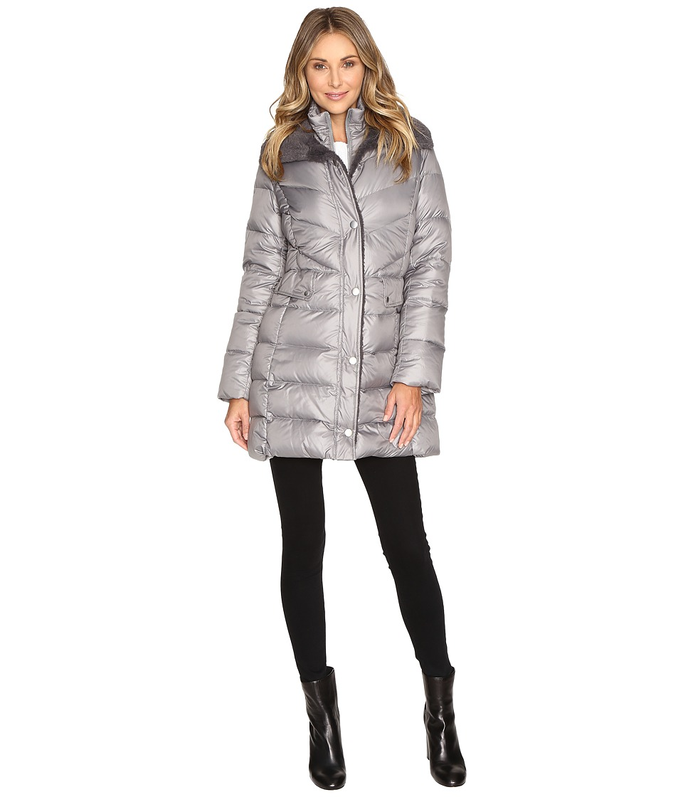 Kenneth Cole New York - Quilted Coat with Sherpa Collar (Nickel) Women's Coat