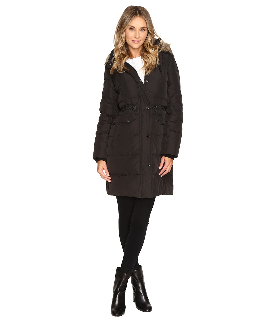 Kenneth Cole New York - Quilted Coat with Fur Hood (Black) Women's Coat
