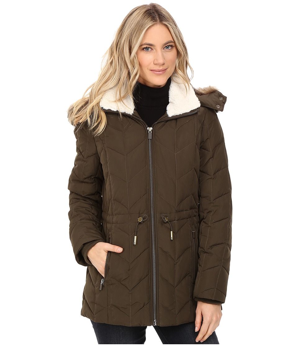 Kenneth Cole New York - Quilted Chevorn Coat with Fur Hood (Oregano) Women's Coat