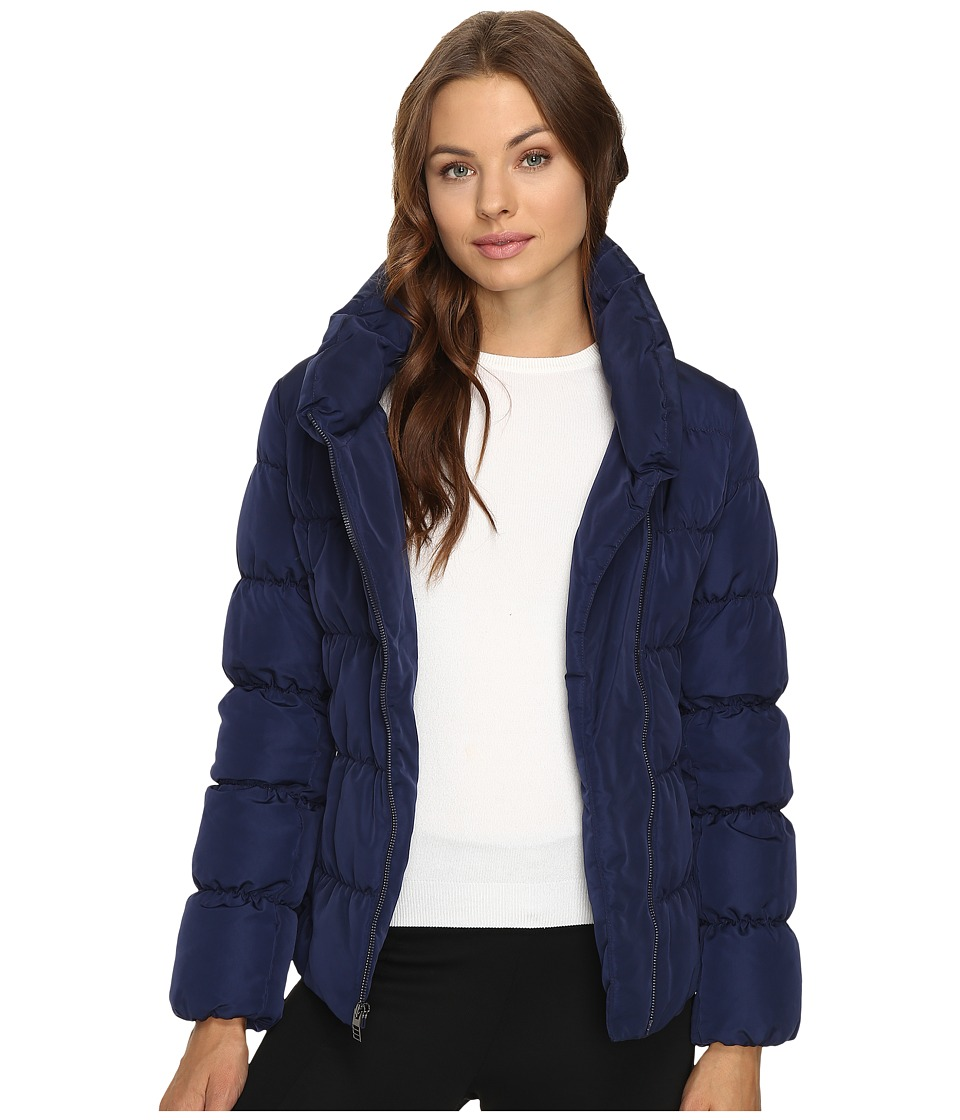 Kenneth Cole New York - Quilted Coat with Asymmetrical Zip (Navy) Women's Coat