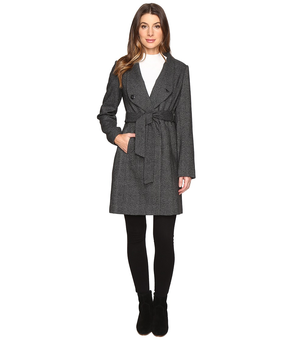 Kenneth Cole New York - High Collar Minimalist Coat (Black/White) Women's Coat