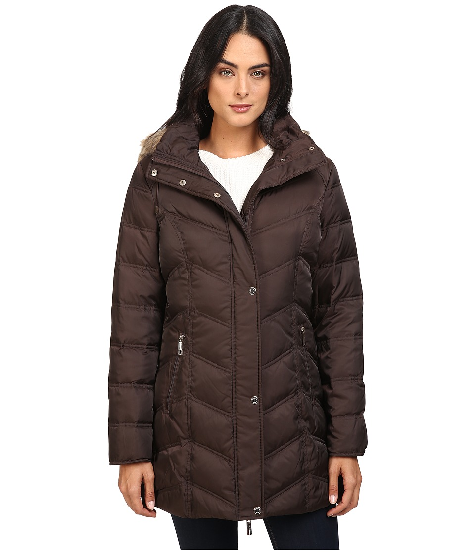 Kenneth Cole New York - Chevron Quilted Coat with Fur Hood (Chocolate) Women's Coat