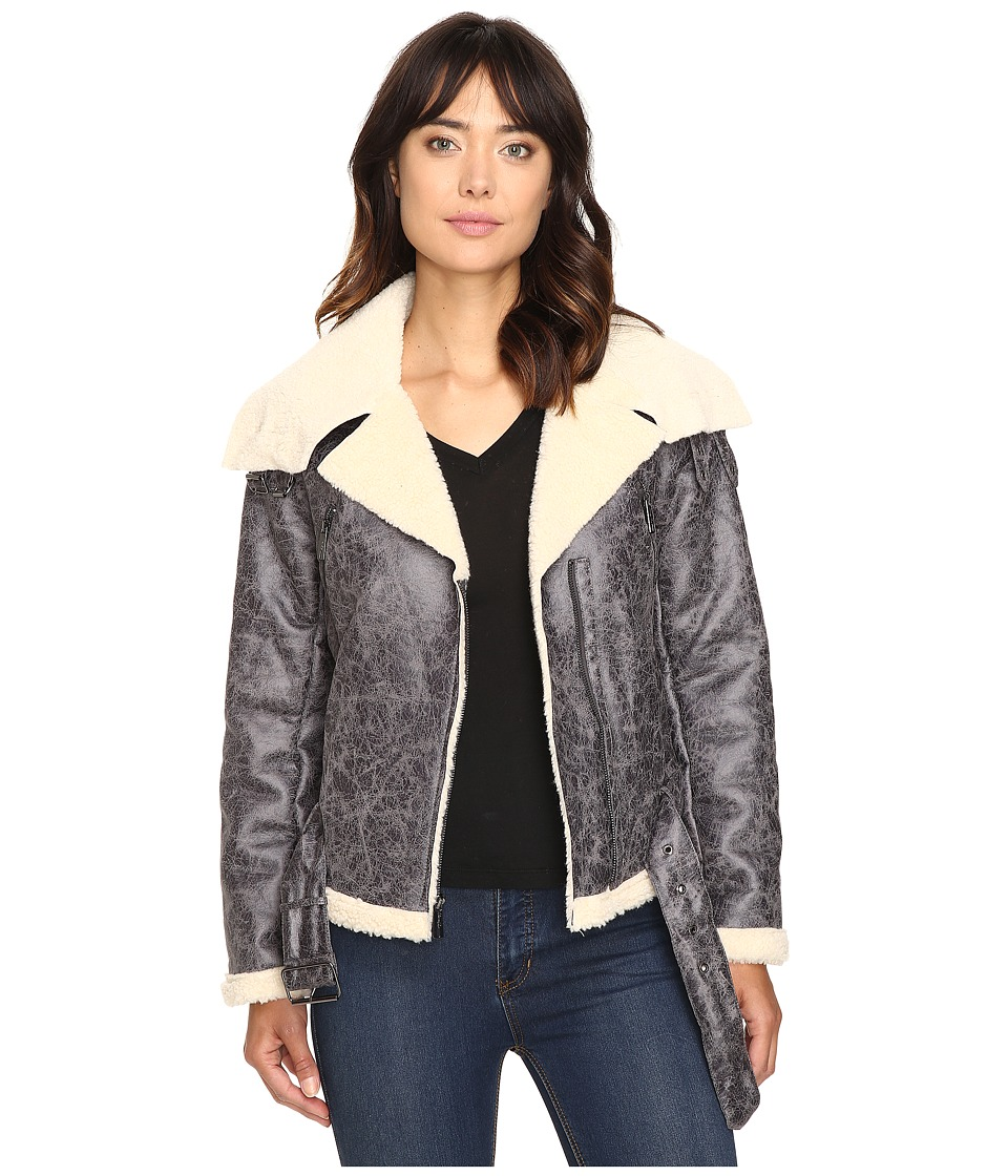 Kenneth Cole New York - Biker Jacket with Sherpa Collar (Grey) Women's Coat