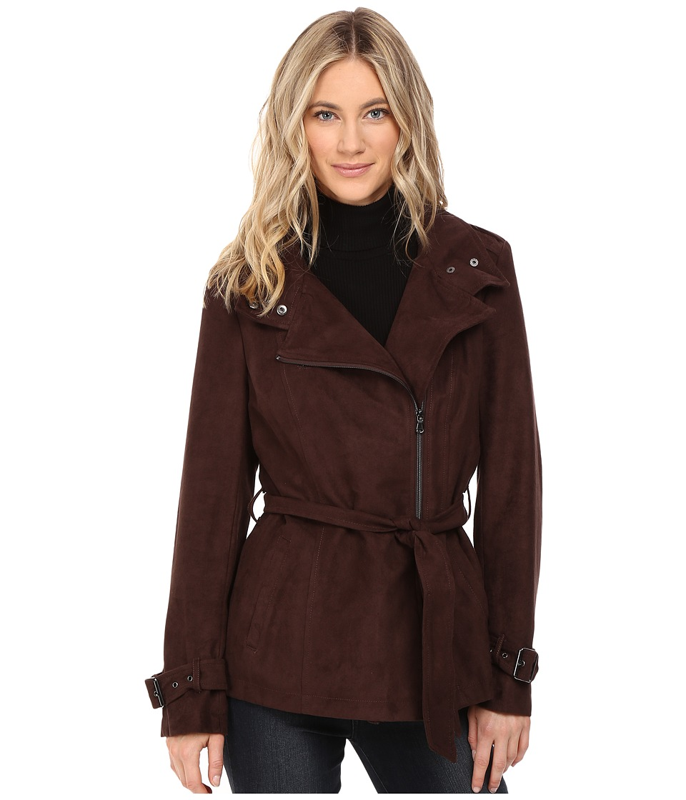 Kenneth Cole New York - Belted Suede Biker Jacket (Chocolate) Women's Coat