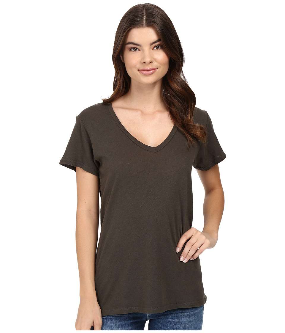 Project Social T - Cotton Linen V (Olive Drab) Women's Short Sleeve Pullover