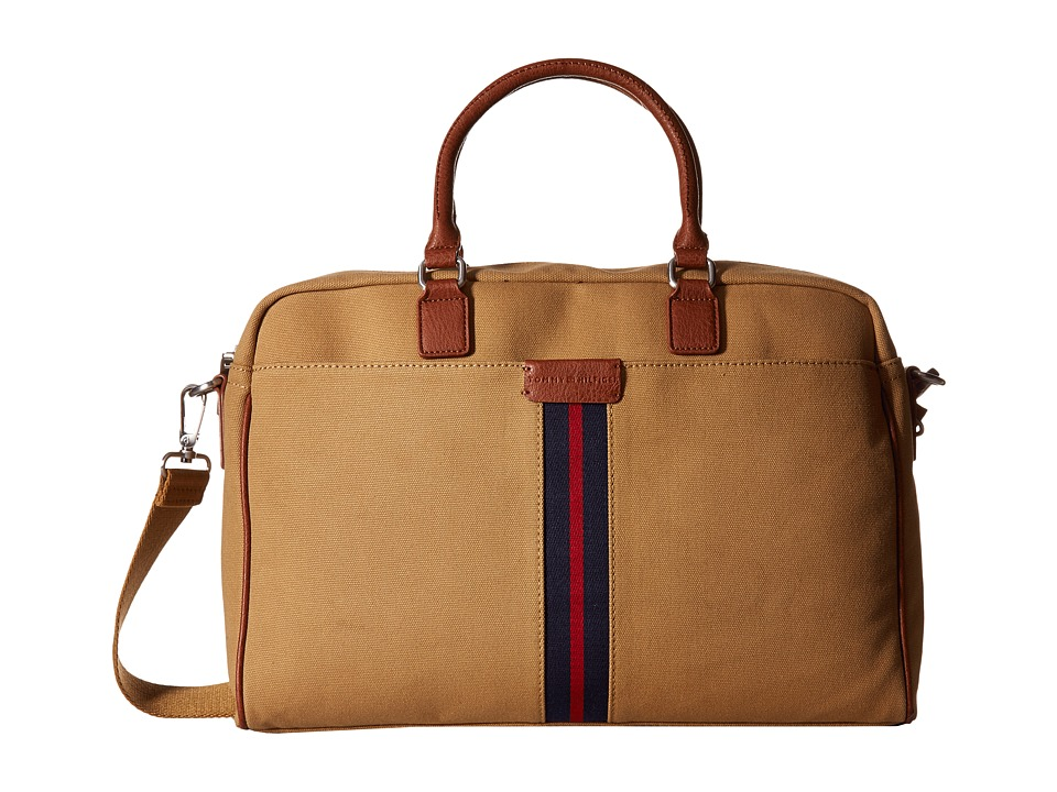 Tommy Hilfiger - Elijah - Canvas w/ PVC Trim Briefcase (British Tan) Briefcase Bags