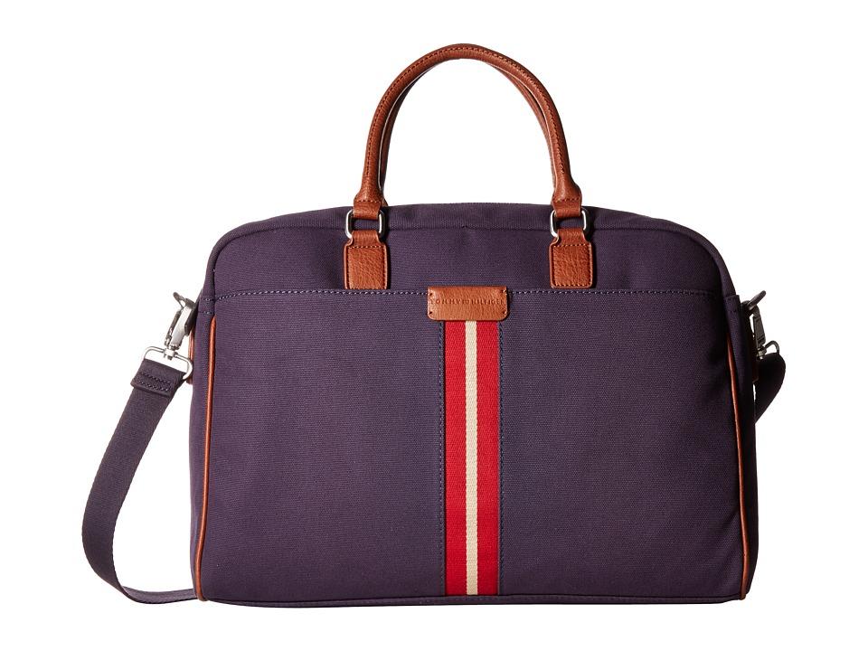 Tommy Hilfiger Elijah Canvas w/ PVC Trim Briefcase (Navy) Briefcase Bags