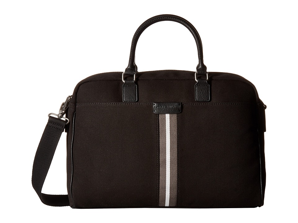 Tommy Hilfiger - Elijah - Canvas w/ PVC Trim Briefcase (Black) Briefcase Bags