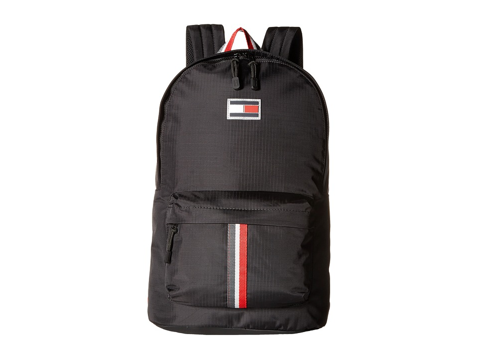 Tommy Hilfiger TH Sport Eyelets Ripstop Nylon Backpack (Black) Backpack Bags