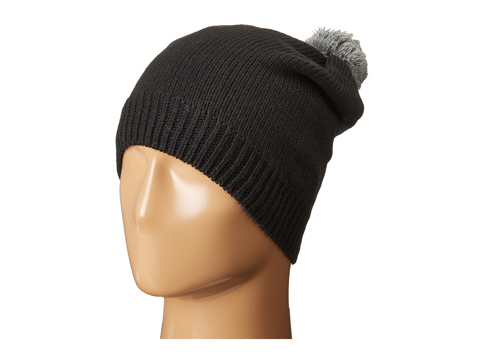 Plush - Fleece-Lined Slouchy Pom Pom Beanie (Black/Heather Grey) Beanies
