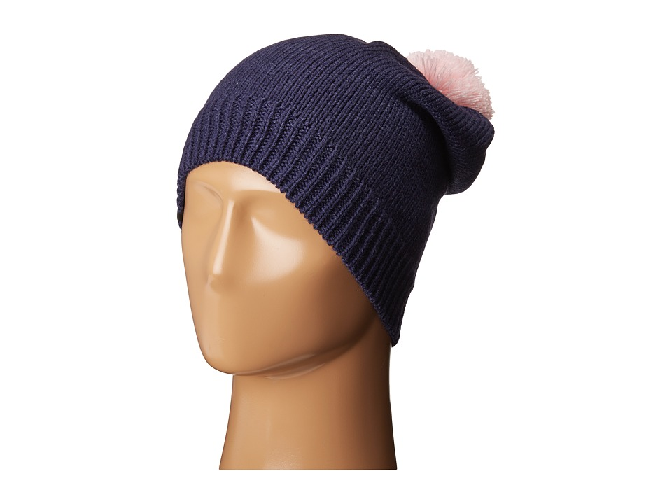Plush - Fleece-Lined Slouchy Pom Pom Beanie (Navy/Light Pink) Beanies