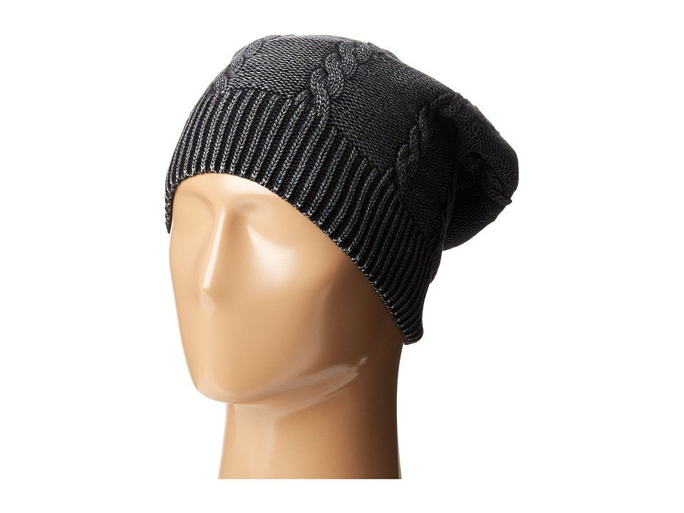 Plush - Fleece-Lined Faded Cable Knit Beanie (Washed Black) Beanies