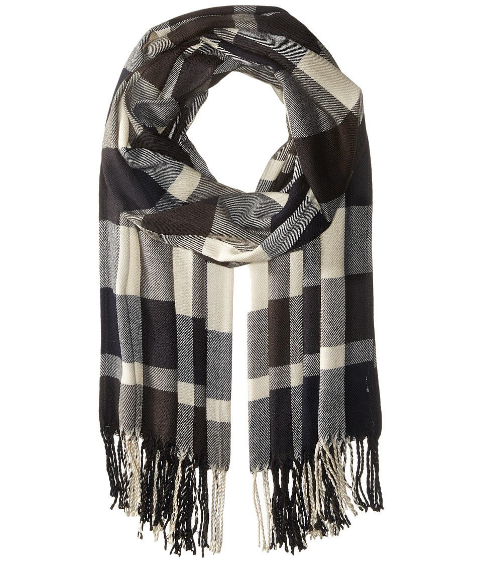 Plush - Ultra Soft Fleece Plaid Scarf (Navy/Charcoal White) Scarves
