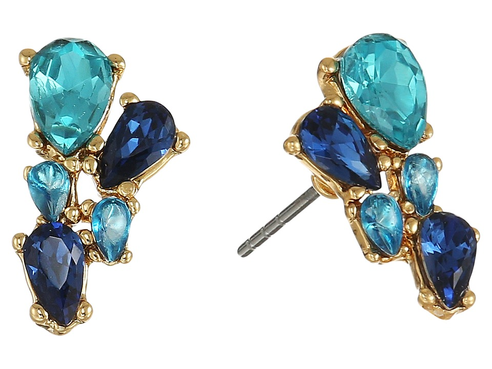 Rebecca Minkoff - Multi Stone Stud Earrings (Gold/Blue Multi) Earring
