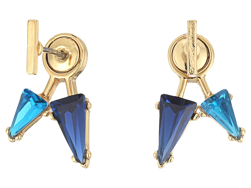 Rebecca Minkoff - Multi Stone Front/Back Earrings (Gold/Blue Multi) Earring