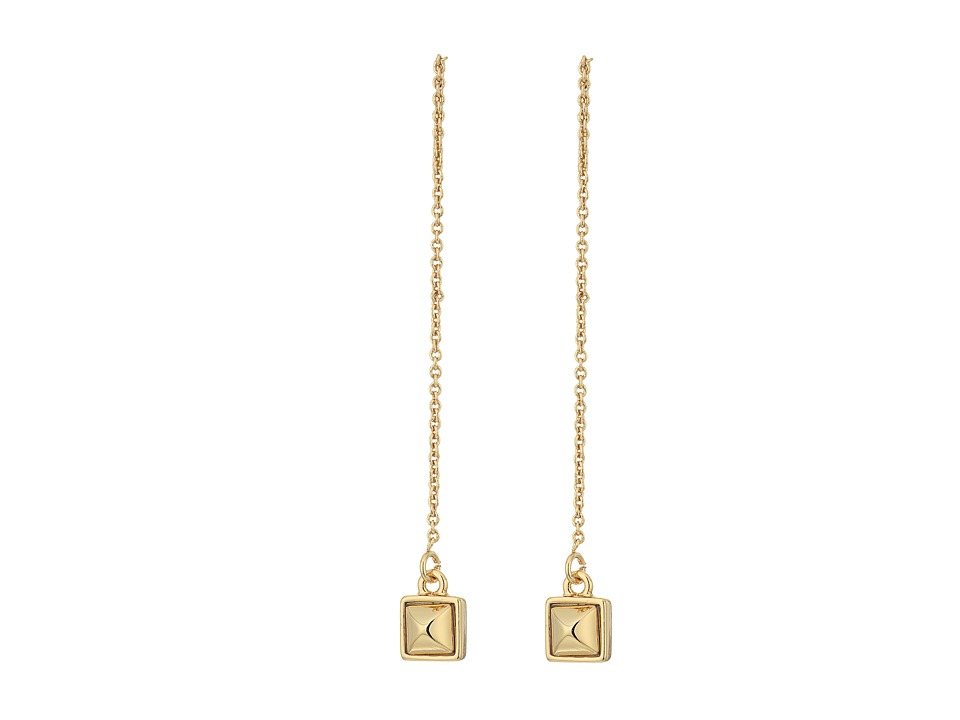 Rebecca Minkoff - Pyramid Threader Earrings (Gold) Earring