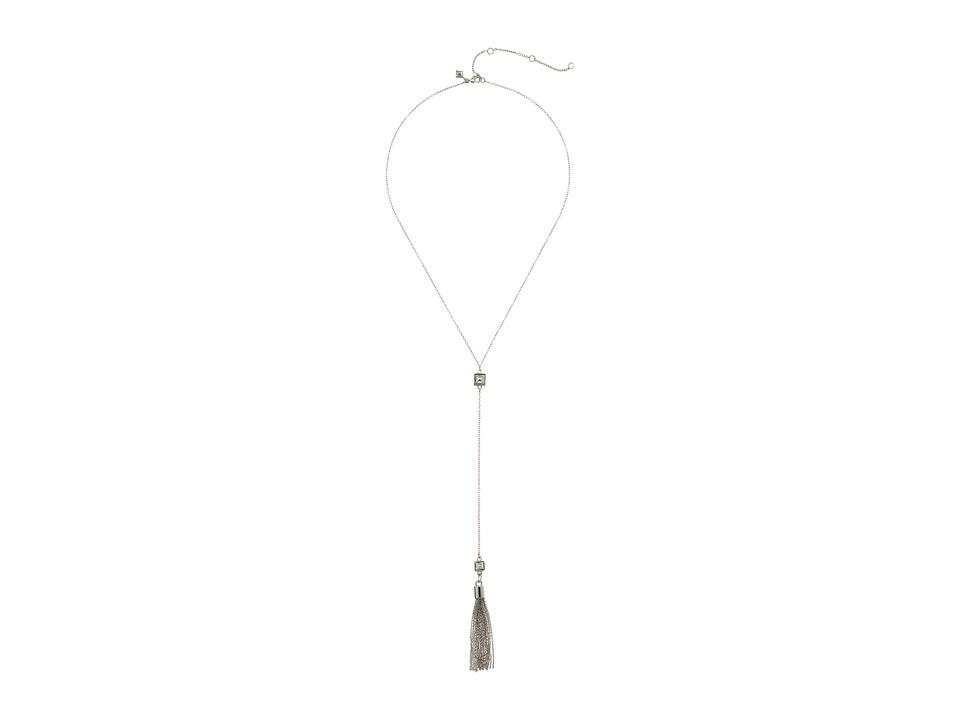 Rebecca Minkoff - Stud with Fringe Y Necklace (Rhodium) Necklace