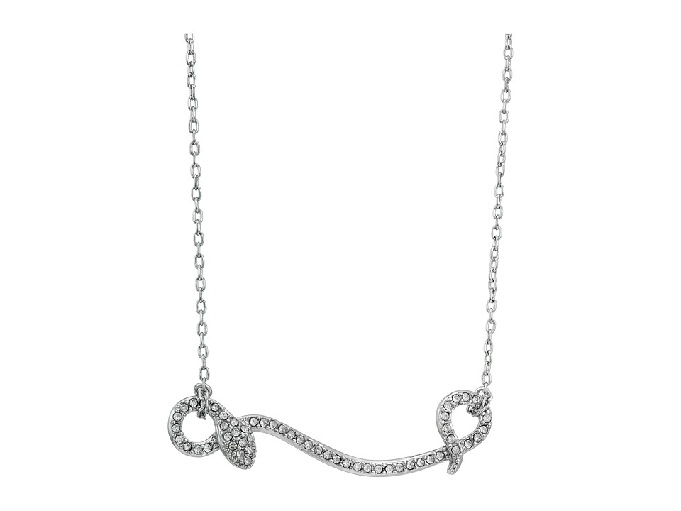 Rebecca Minkoff - Pave Snake Pendant Necklace (Rhodium/Crystal) Necklace