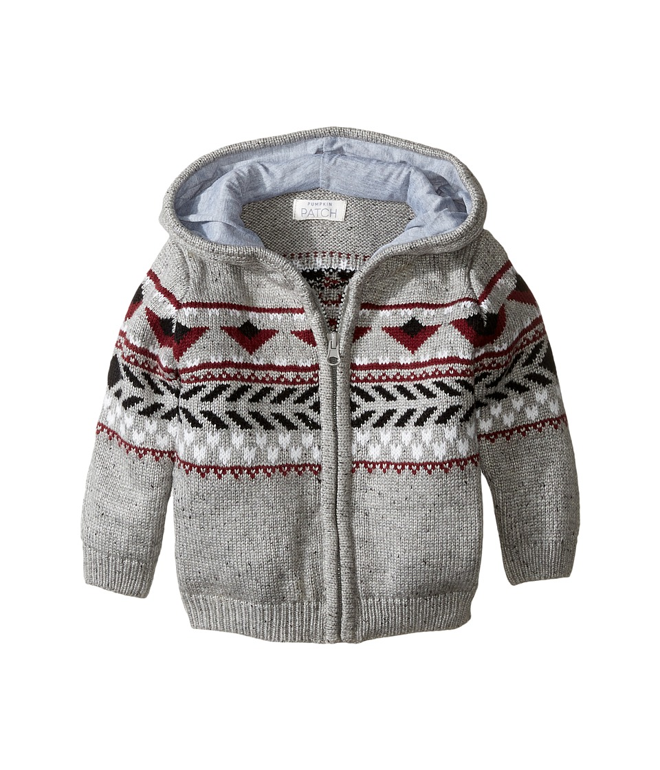 Pumpkin Patch Kids - Jacquard Knit Cardigan (Infant) (Grey Marle) Boy's Sweater