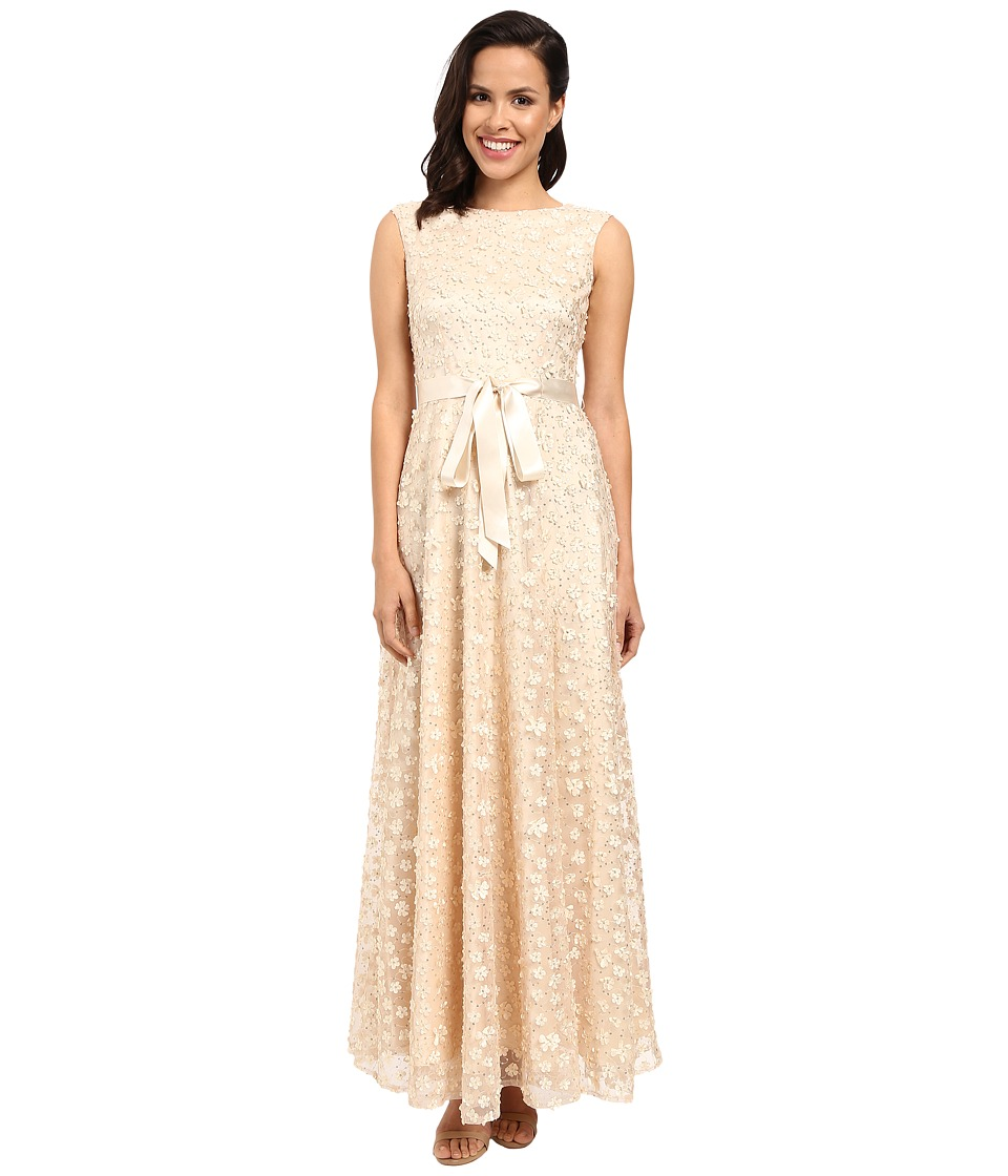 Tahari by ASL All Over Flourettes with Ribbon Belt Dress (Almond) Women