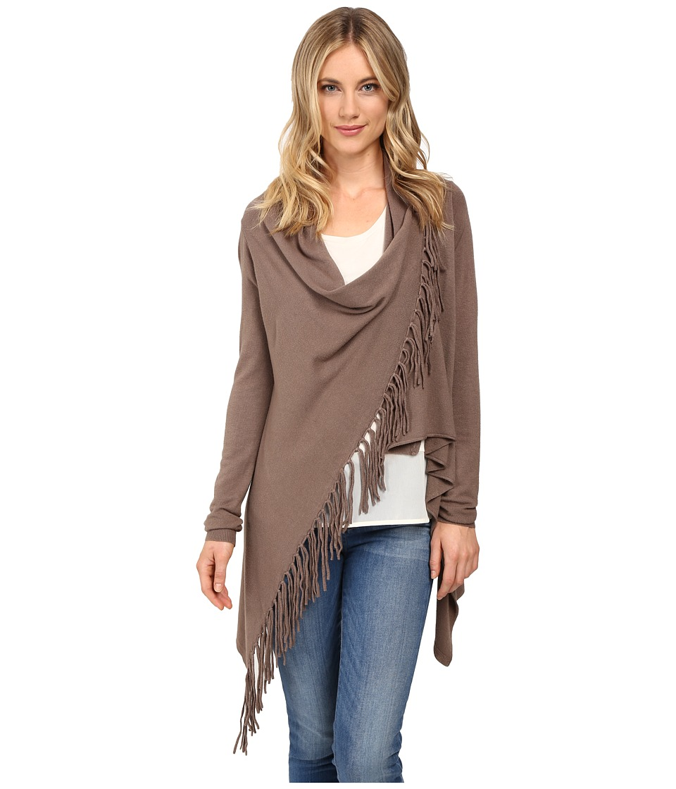 Christin Michaels - Evelyn Fringed Wrap Cardigan (Walnut) Women's Sweater