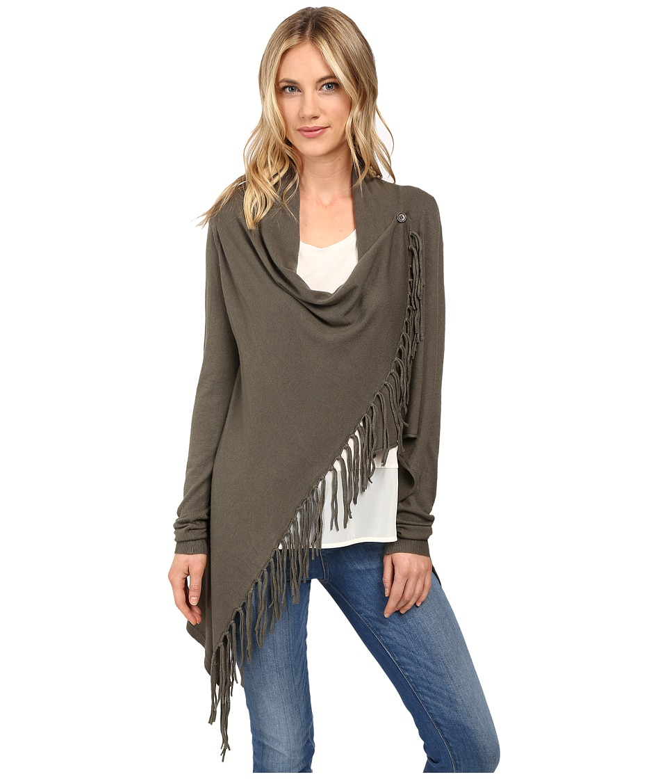 Christin Michaels - Evelyn Fringed Wrap Cardigan (Vintage Elm) Women's Sweater