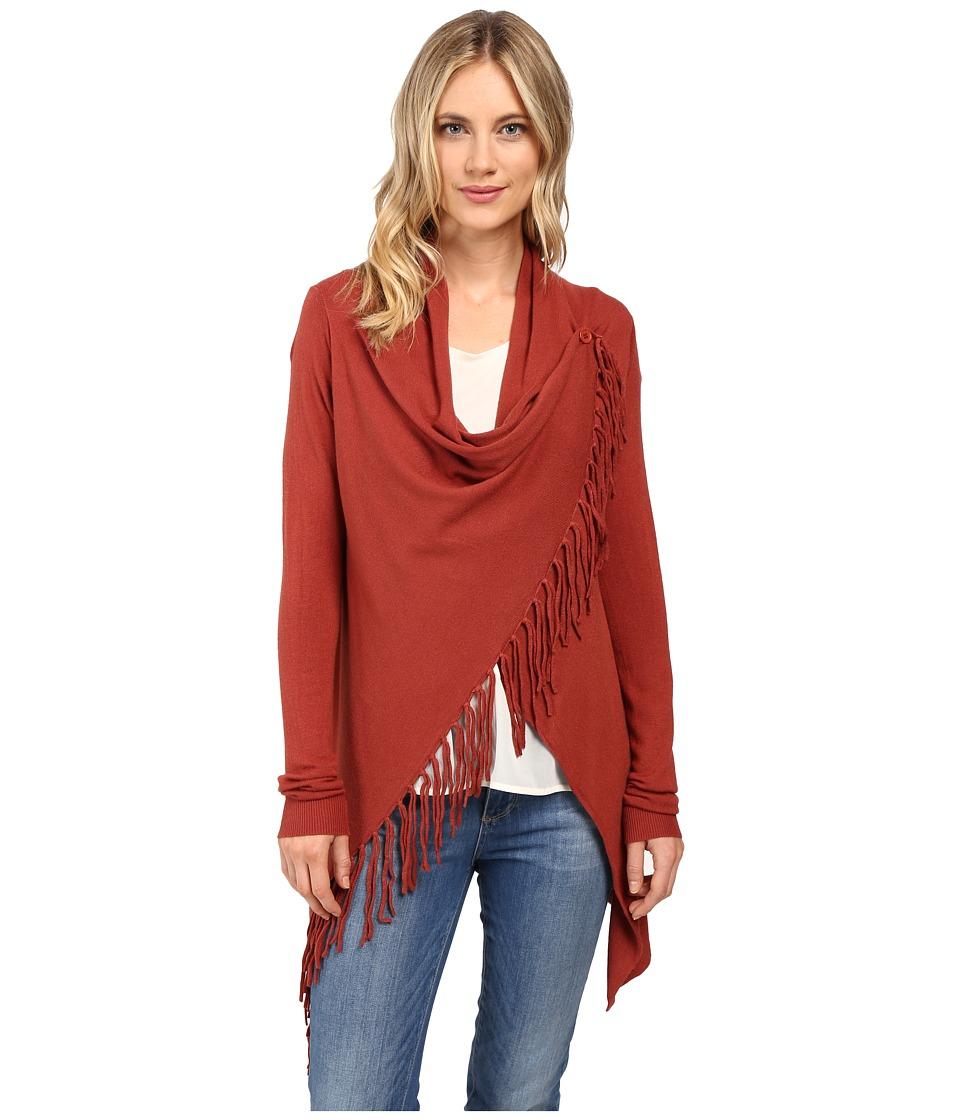 Christin Michaels - Evelyn Fringed Wrap Cardigan (Terracotta) Women's Sweater