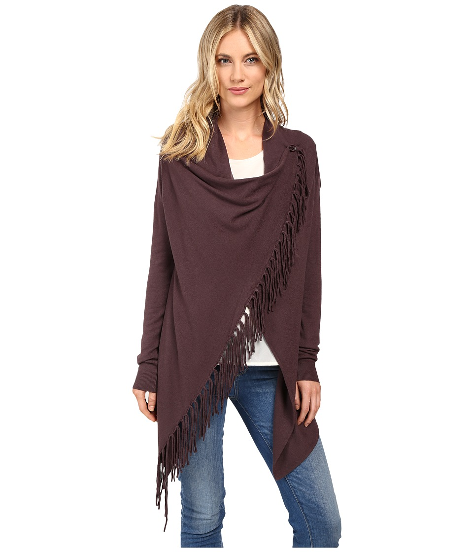 Christin Michaels - Evelyn Fringed Wrap Cardigan (Dark Shadow) Women's Sweater