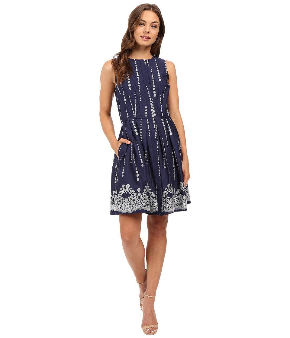 Christin Michaels - Sky Embroidered Sleeveless Dress (Navy/Ivory) Women's Dress