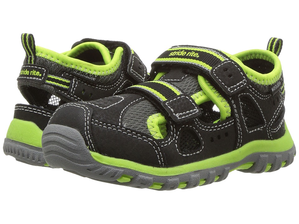 Stride Rite - Made 2 Play Thatcher (Toddler) (Black/Green) Boy's Shoes