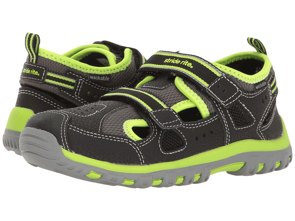 Stride Rite - Made 2 Play Thatcher (Toddler/Little Kid) (Black/Green) Boy's Shoes
