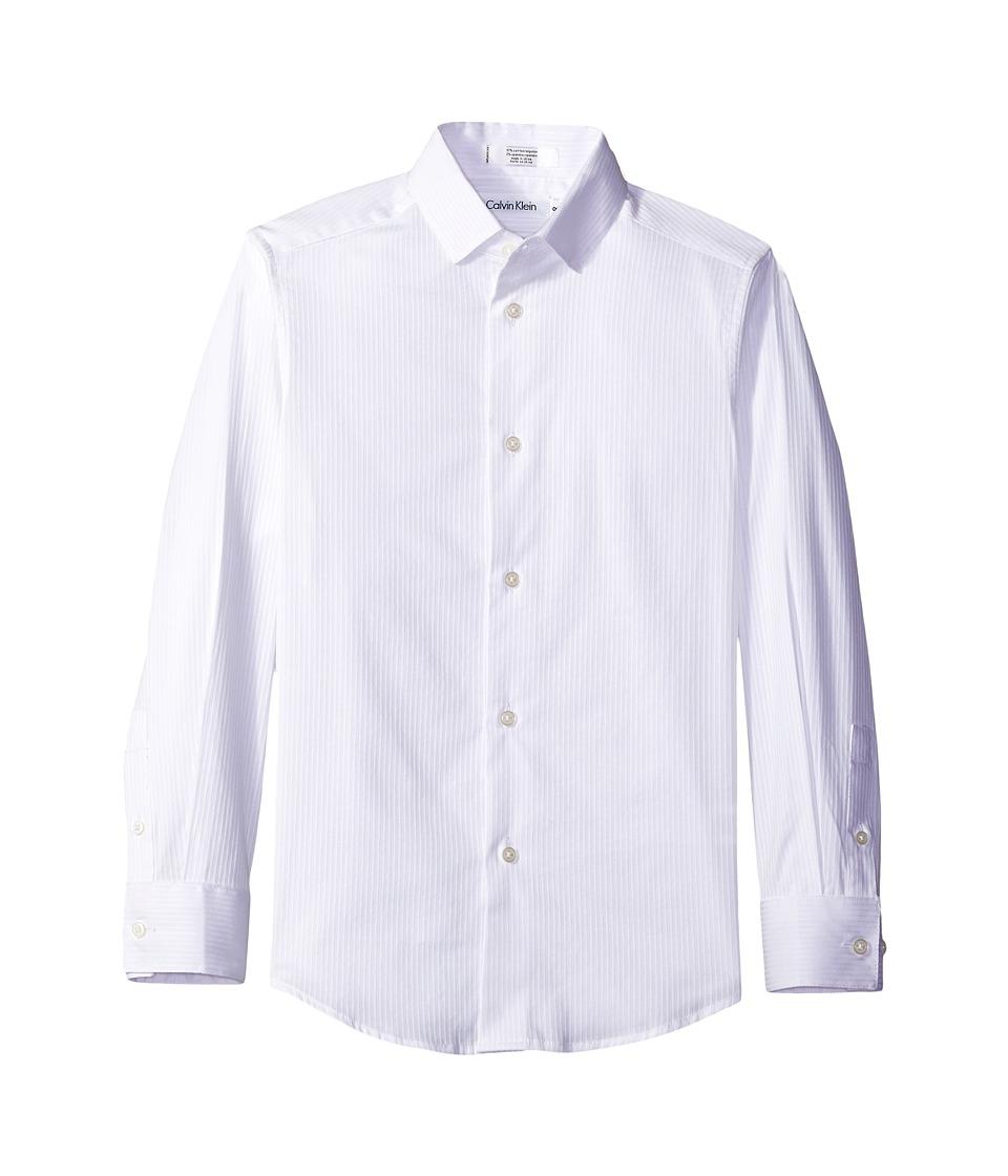 Calvin Klein Kids - Long Sleeve Luster Tonal Stripe Stretch Shirt (Big Kids) (White) Boy's Long Sleeve Button Up