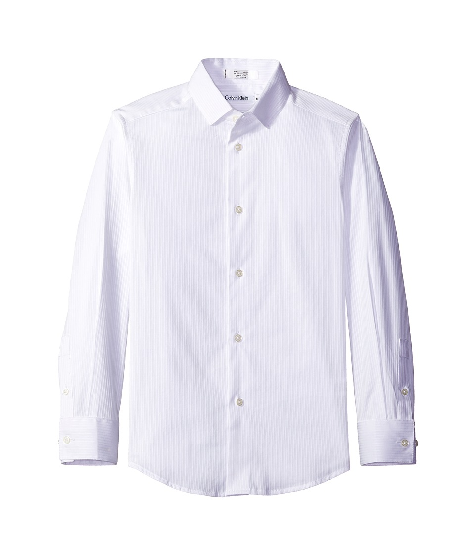 Calvin Klein Kids - Long Sleeve Luster Tonal Stripe Stretch Shirt (Little Kids) (White) Boy's Long Sleeve Button Up