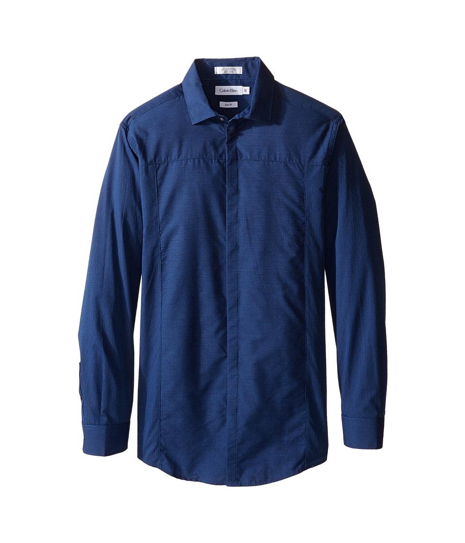 Calvin Klein Kids - Long Sleeve Tick Dobby Stripe Pieced Shirt (Big Kids) (Dark Blue) Boy's Long Sleeve Button Up