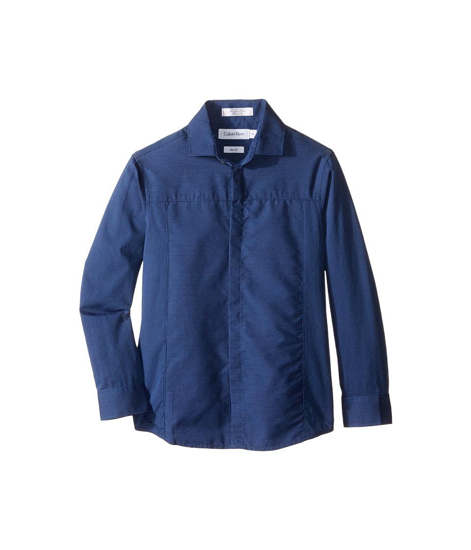Calvin Klein Kids - Long Sleeve Tick Dobby Stripe Pieced Shirt (Little Kids) (Dark Blue) Boy's Long Sleeve Button Up